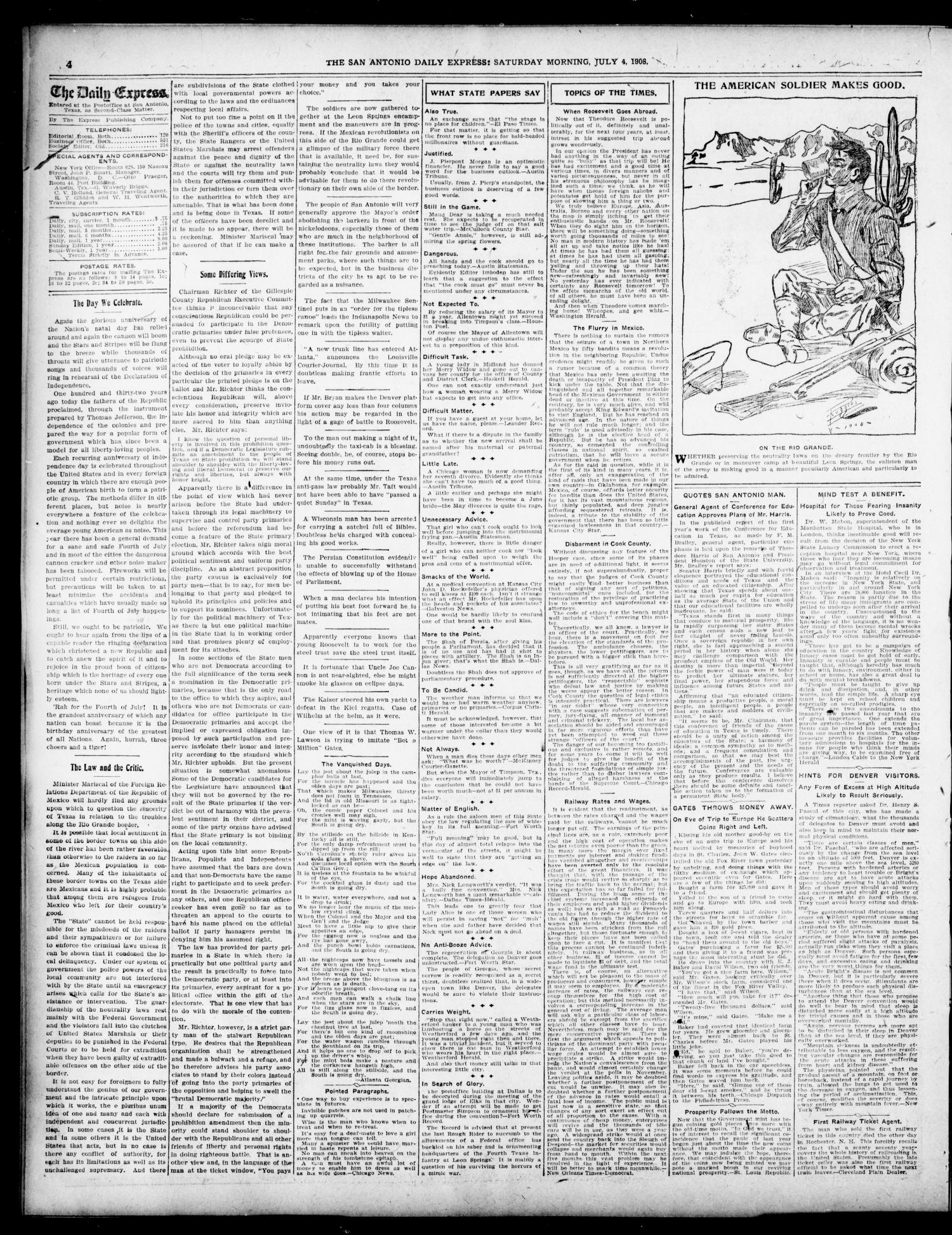 The Daily Express. (San Antonio, Tex.), Vol. 43, No. 186, Ed. 1 Saturday, July 4, 1908                                                                                                      [Sequence #]: 4 of 12