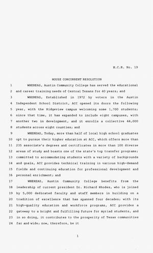 83rd Texas Legislature, Second Called Session, House Concurrent Resolution 19