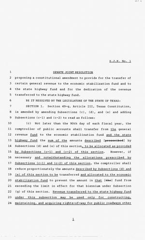 83rd Texas Legislature, Third Called Session, Senate Joint Resolution 1