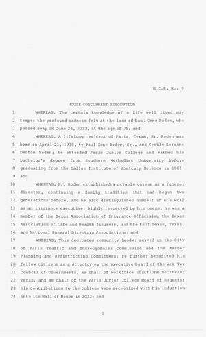 83rd Texas Legislature, Second Called Session, House Concurrent Resolution 9