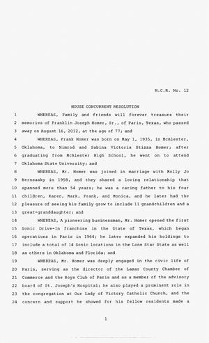 83rd Texas Legislature, Second Called Session, House Concurrent Resolution 12