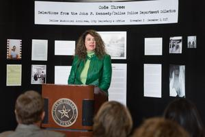 Primary view of object titled '[Dreanna Belden speaks at JFK Reception]'.