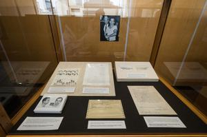 Primary view of object titled '[Lee Harvey Oswald exhibit at JFK Reception]'.