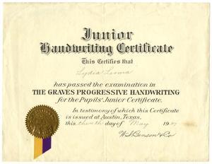 [Junior Handwriting Certificate, 1937]