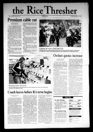 The Rice Thresher, Vol. 89, No. 16, Ed. 1 Friday, January 18, 2002