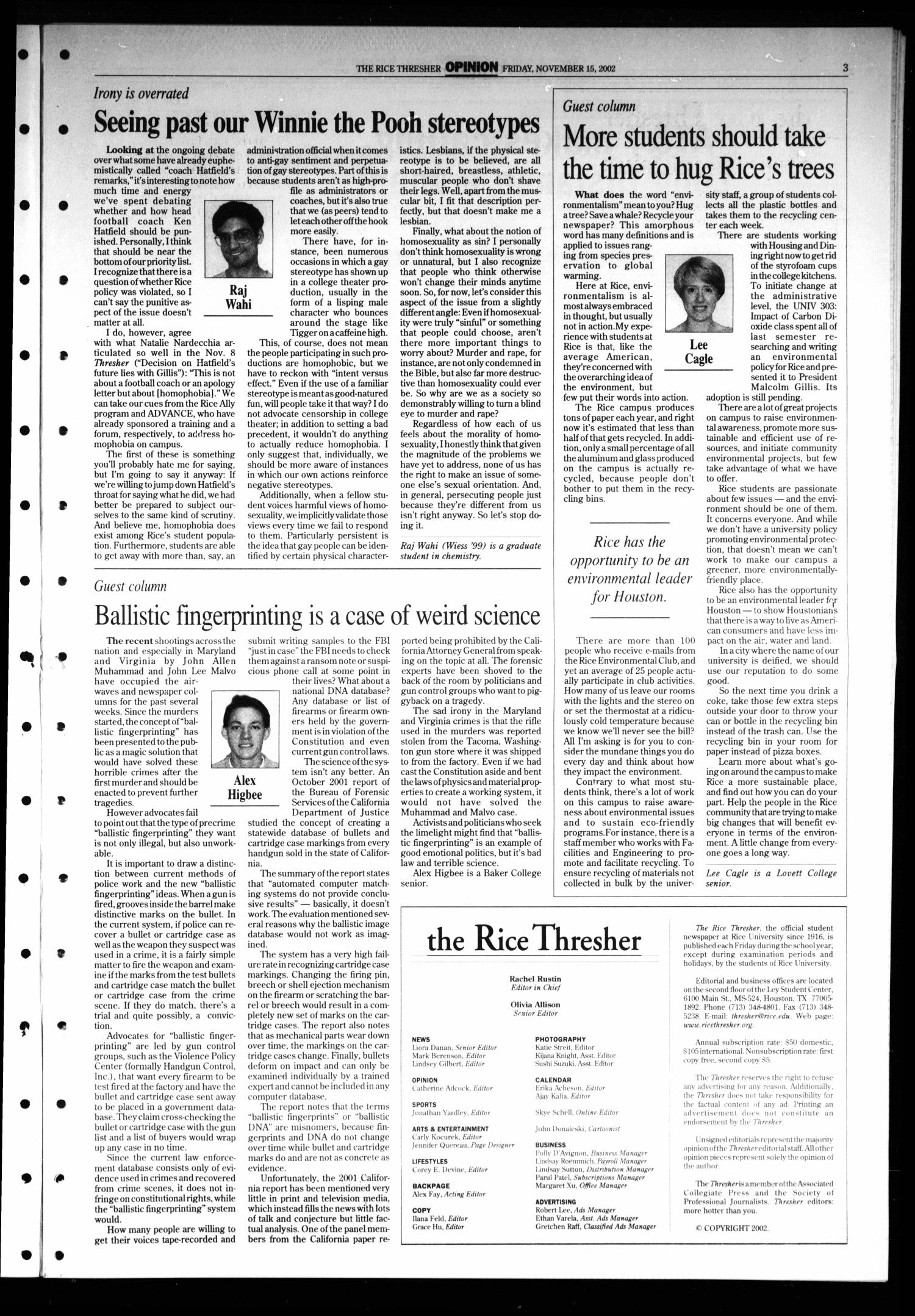 The Rice Thresher, Vol. 90, No. 12, Ed. 1 Friday, November 15, 2002                                                                                                      [Sequence #]: 3 of 24