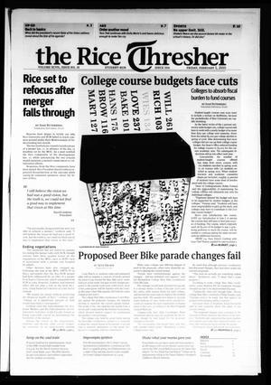 The Rice Thresher, Vol. 97, No. 18, Ed. 1 Friday, February 5, 2010