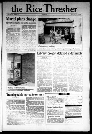 The Rice Thresher, Vol. 89, No. 2, Ed. 1 Friday, August 24, 2001