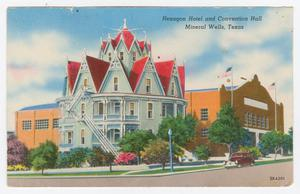 Primary view of object titled '[Postcard of Hexagon Hotel and Convention Hall]'.