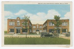 Primary view of object titled '[Postcard of New Milling Sanatorium]'.