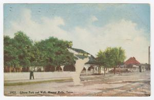 Primary view of object titled '[Postcard of Gibson Park and Well]'.