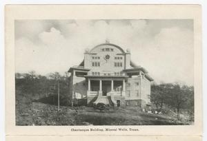 Primary view of object titled '[Folding Postcard of Chautauqua Building]'.