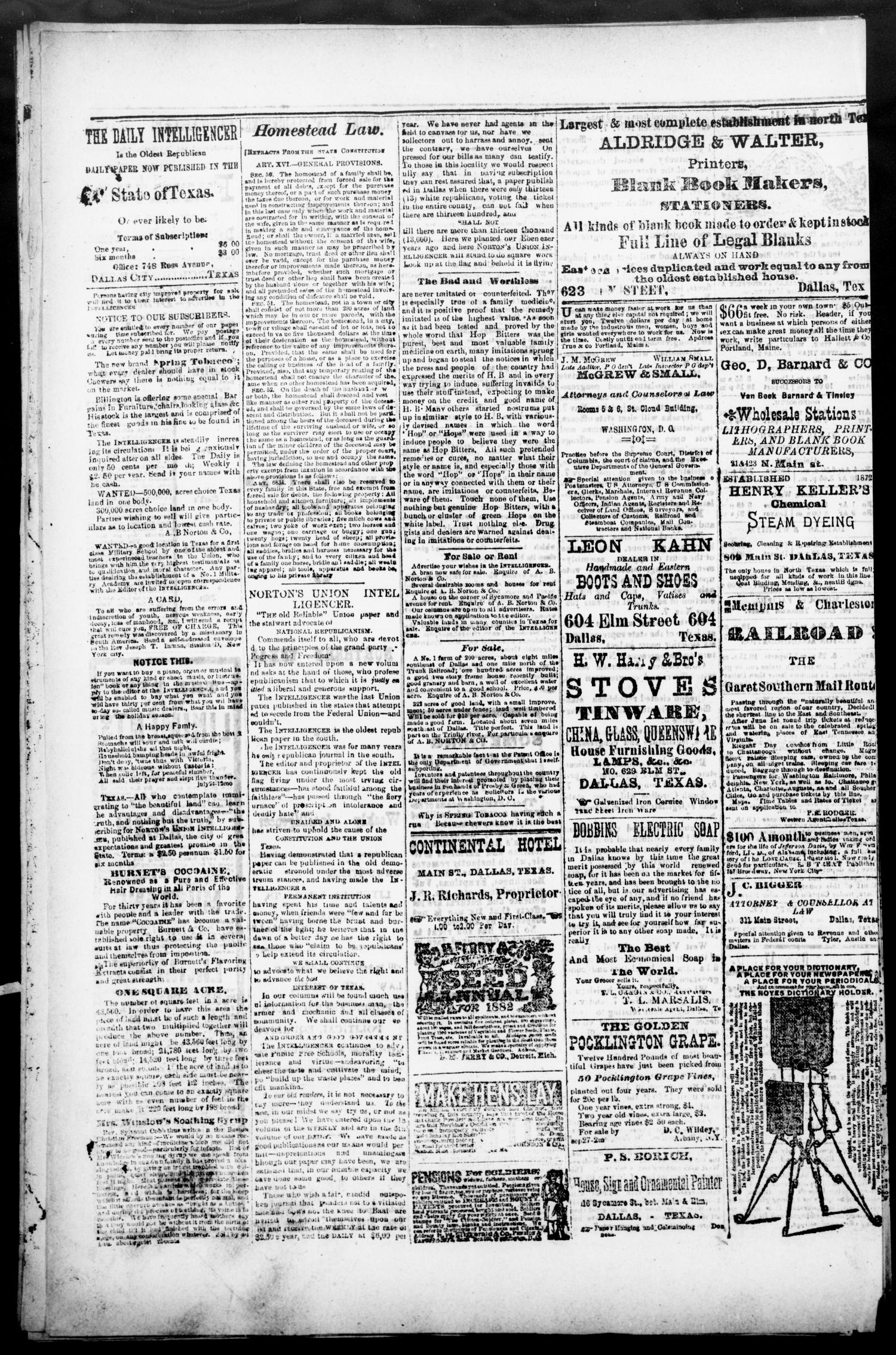 Norton's Daily Union Intelligencer. (Dallas, Tex.), Vol. 7, No. 144, Ed. 1 Tuesday, October 17, 1882                                                                                                      [Sequence #]: 4 of 4