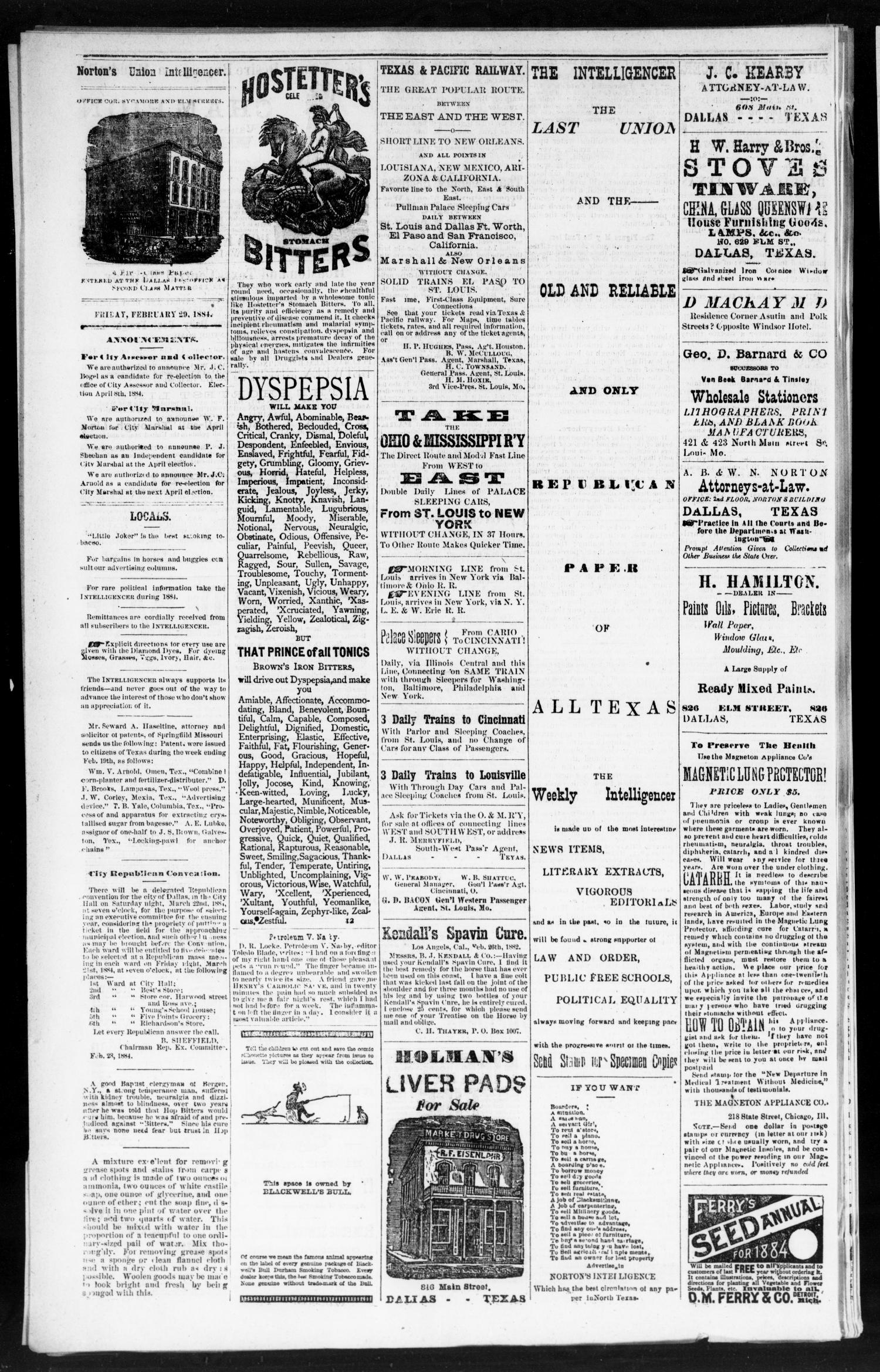 Norton's Union Intelligencer. (Dallas, Tex.), Vol. 8, No. 248, Ed. 1 Friday, February 29, 1884                                                                                                      [Sequence #]: 4 of 4