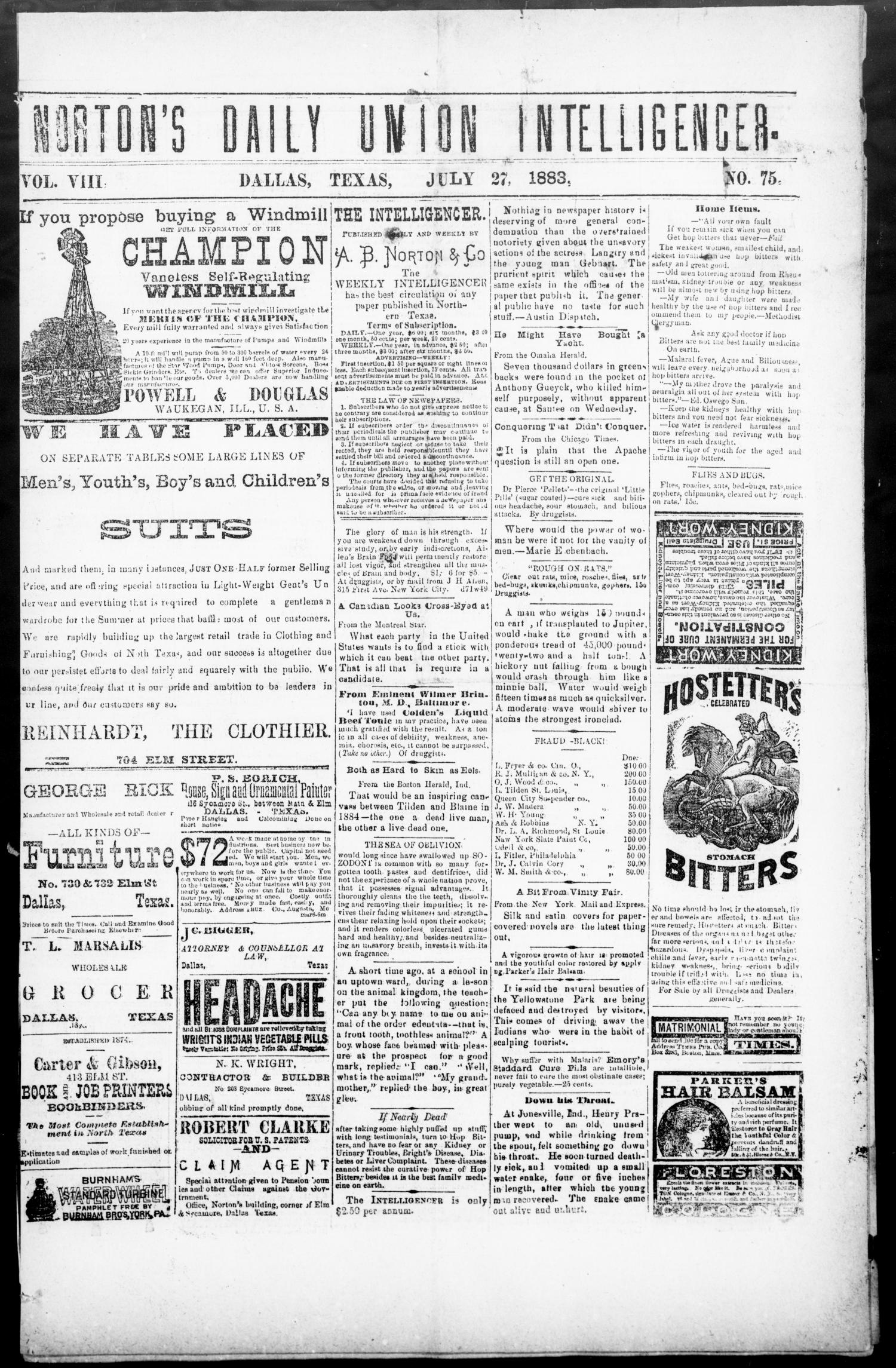 Norton's Daily Union Intelligencer. (Dallas, Tex.), Vol. 8, No. 75, Ed. 1 Friday, July 27, 1883                                                                                                      [Sequence #]: 1 of 4