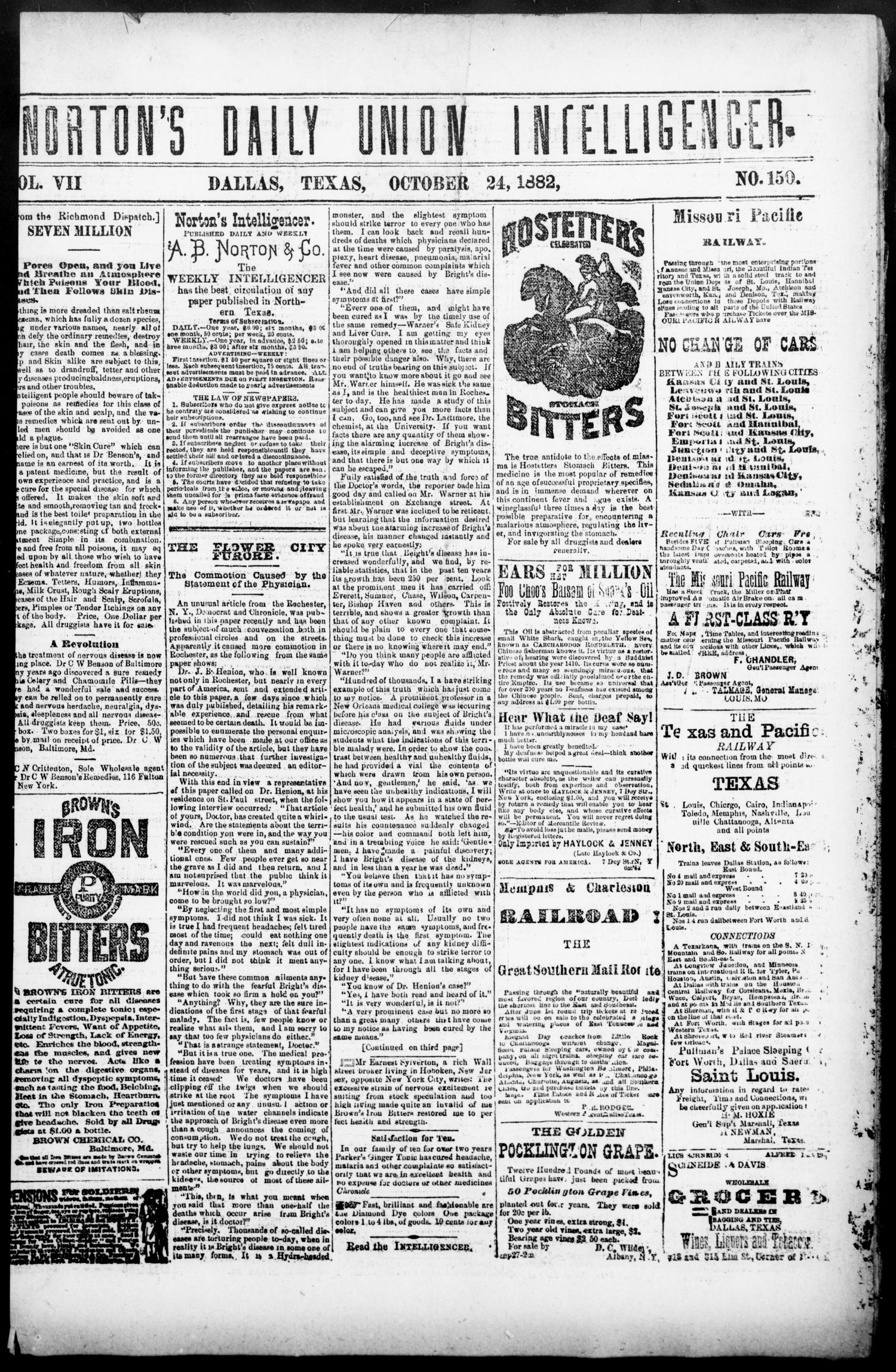 Norton's Daily Union Intelligencer. (Dallas, Tex.), Vol. 7, No. 150, Ed. 1 Tuesday, October 24, 1882                                                                                                      [Sequence #]: 1 of 4