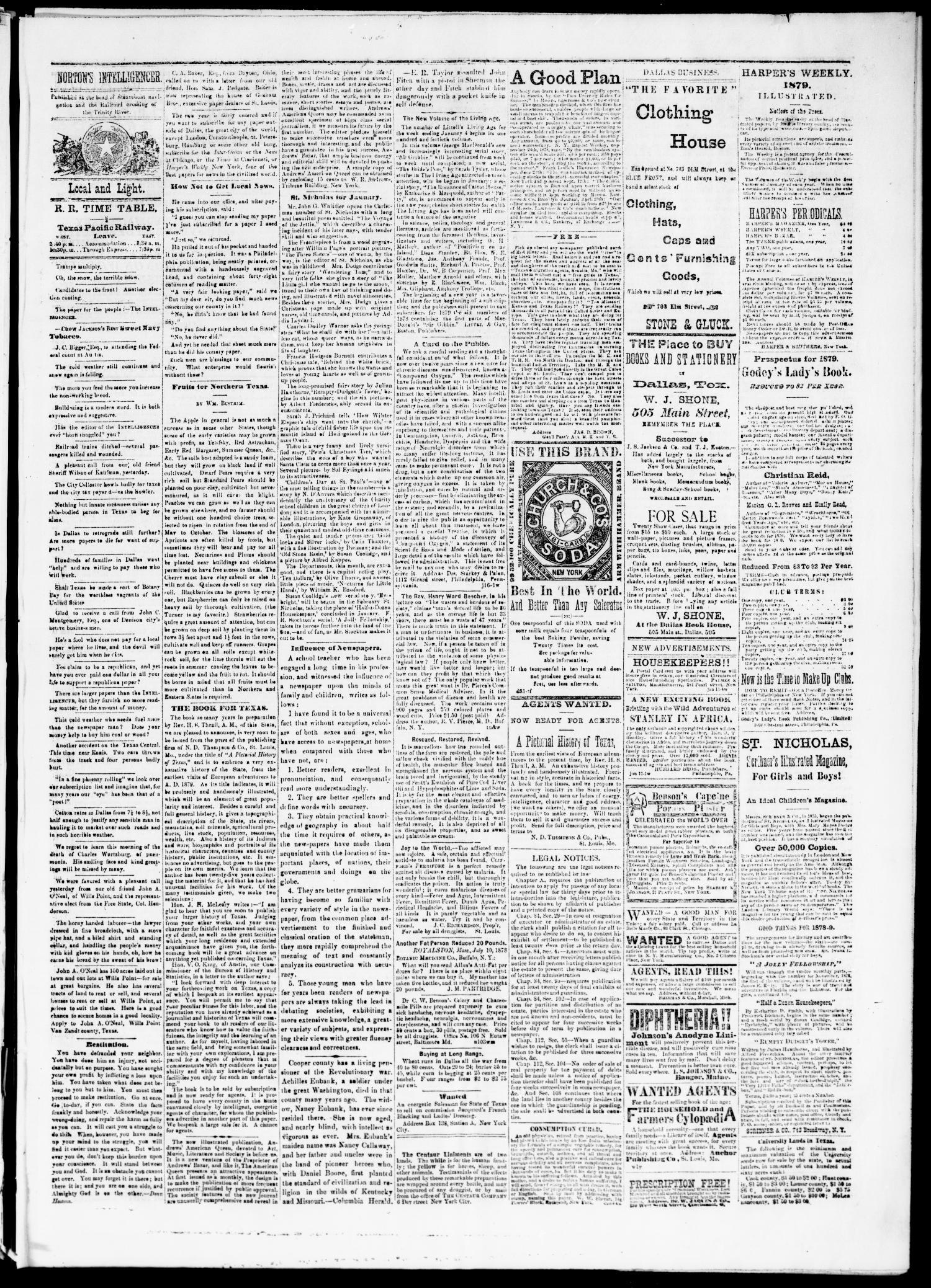 Nortons Union Intelligencer Dallas Tex Vol 8 No 21 Ed 1