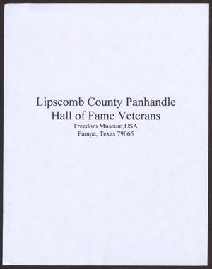 Primary view of object titled 'Lipscomb County Panhandle Hall of Fame Veterans'.