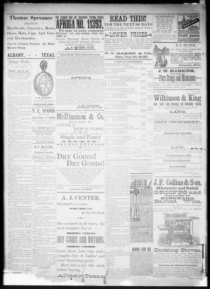 Primary view of object titled 'The Albany Weekly News. (Albany, Tex.), Vol. [9], No. [47], Ed. 1 Friday, February 24, 1893'.