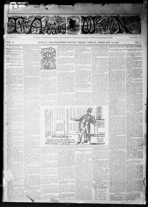 Primary view of object titled 'The Albany Weekly News (Albany, Tex.), Vol. 2, No. 7, Ed. 1 Friday, February 12, 1892'.
