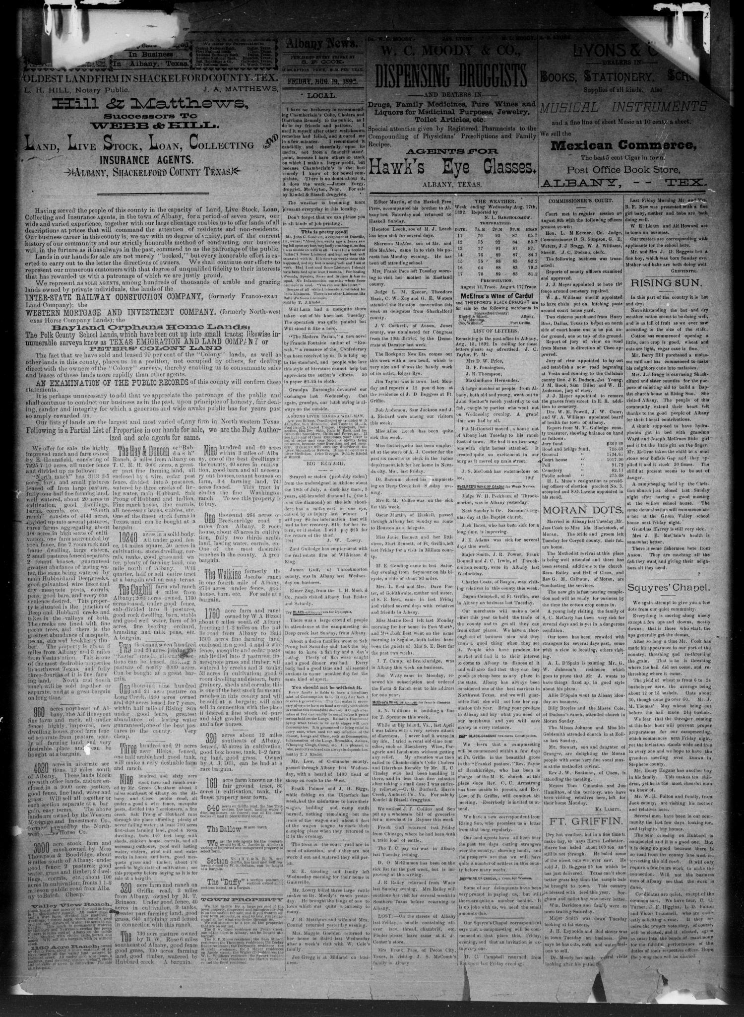 The Albany Weekly News. (Albany, Tex.), Vol. 9, No. 20, Ed. 1 Friday, August 19, 1892                                                                                                      [Sequence #]: 3 of 4