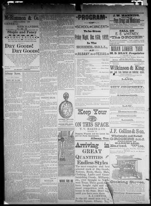 Primary view of object titled 'The Albany Weekly News. (Albany, Tex.), Vol. [9], No. [37], Ed. 1 Friday, December 16, 1892'.