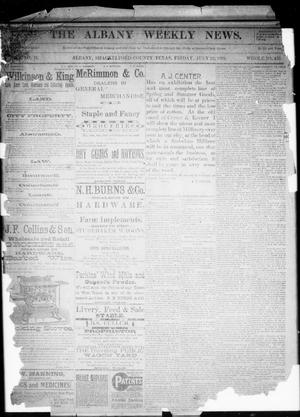 Primary view of object titled 'The Albany Weekly News. (Albany, Tex.), Vol. 9, No. 16, Ed. 1 Friday, July 22, 1892'.