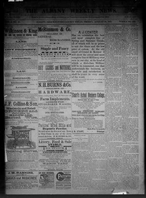 Primary view of object titled 'The Albany Weekly News. (Albany, Tex.), Vol. 9, No. 21, Ed. 1 Friday, August 26, 1892'.