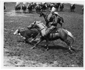 Primary view of object titled 'Cowboy Riding After a Steer'.