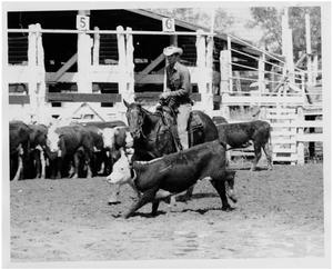 Primary view of object titled 'Cowboy Rides Next to a Steer'.