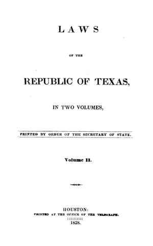 Primary view of object titled 'Laws of the Republic of Texas, in two volumes.  Volume 02.'.