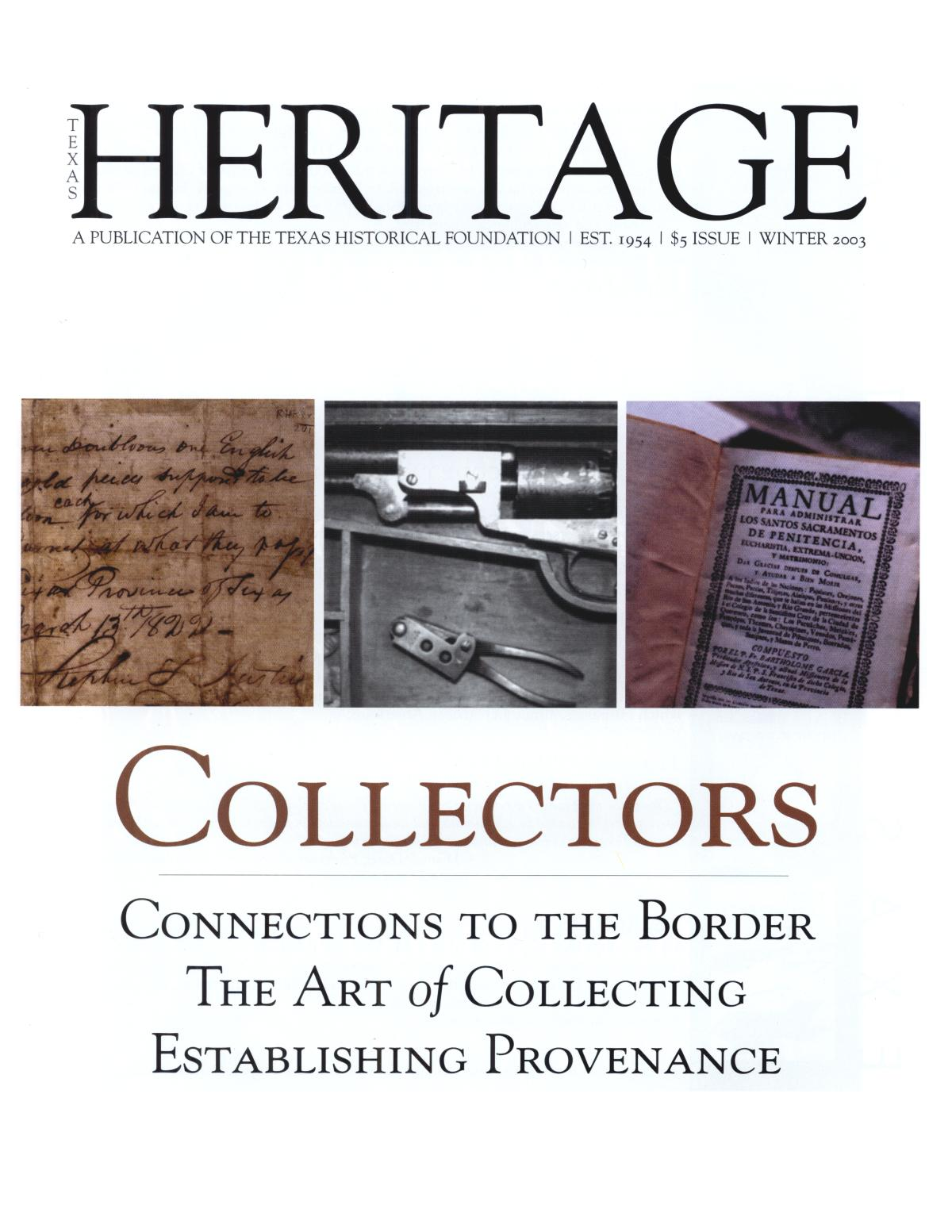 Texas Heritage, Winter 2003                                                                                                      Front Cover