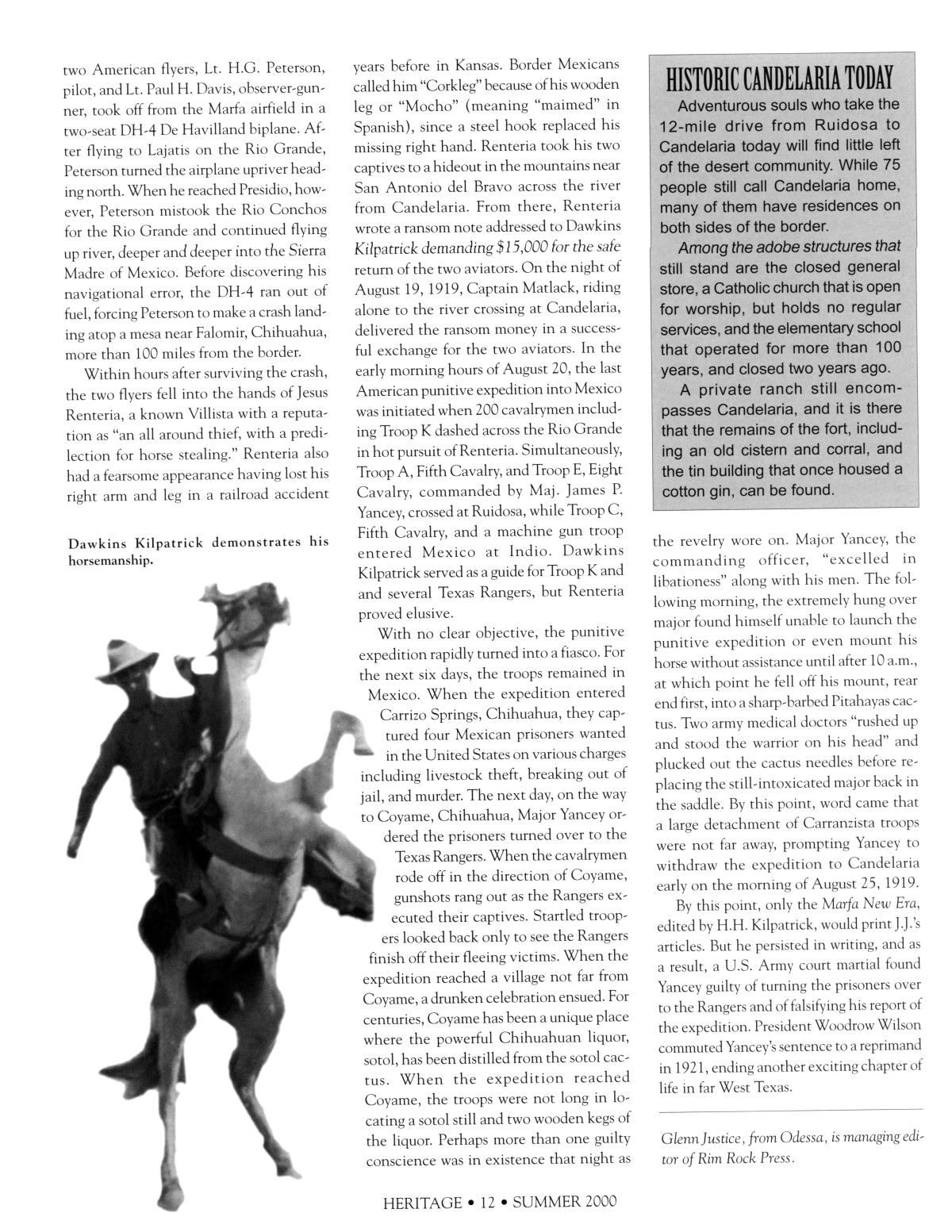 Texas Heritage, Volume 18, Number 3, Summer 2000                                                                                                      12