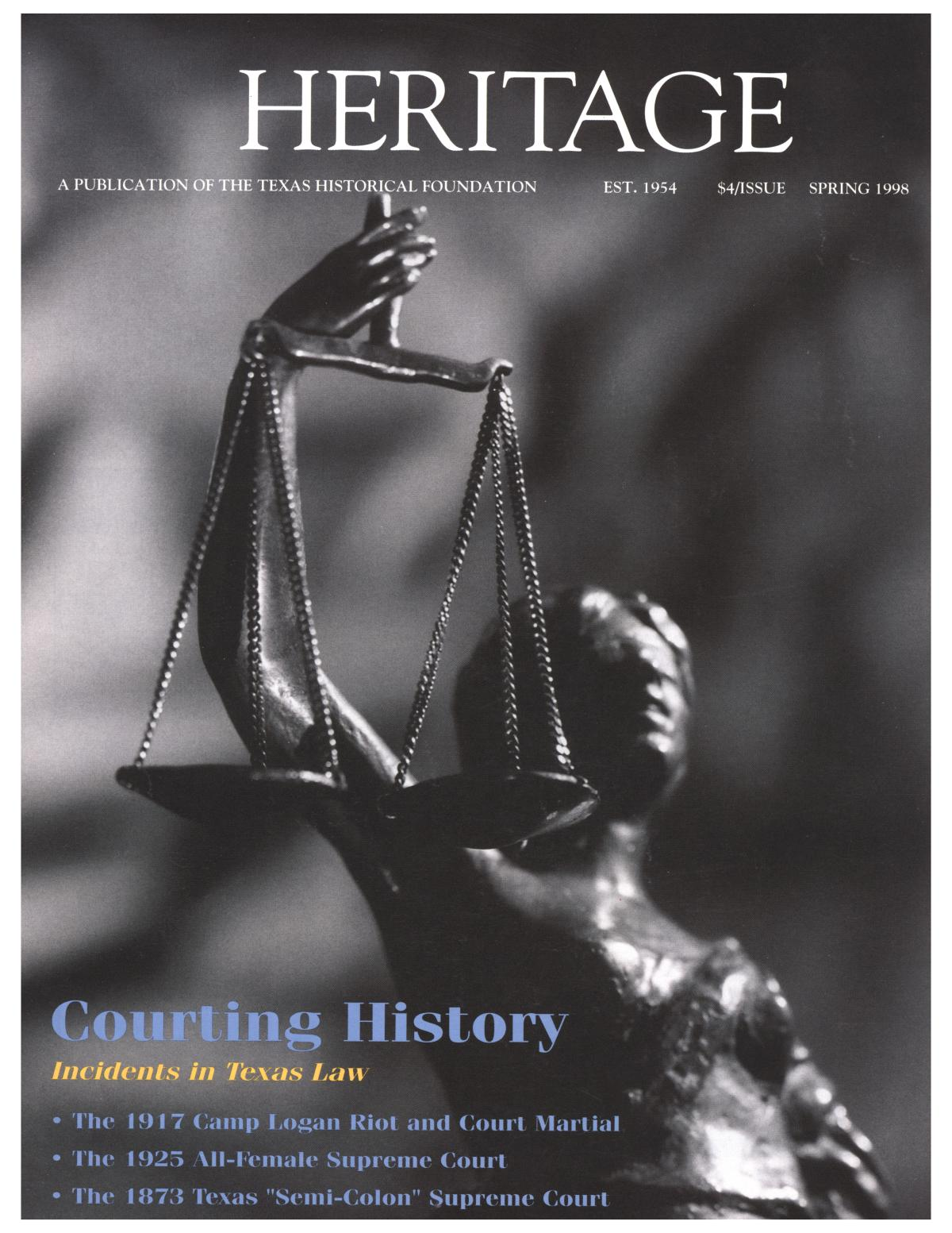 Heritage, Volume 16, Number 2, Spring 1998                                                                                                      Front Cover