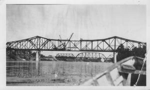 Primary view of object titled '[The construction of the Brazos River Bridge in final phase.]'.