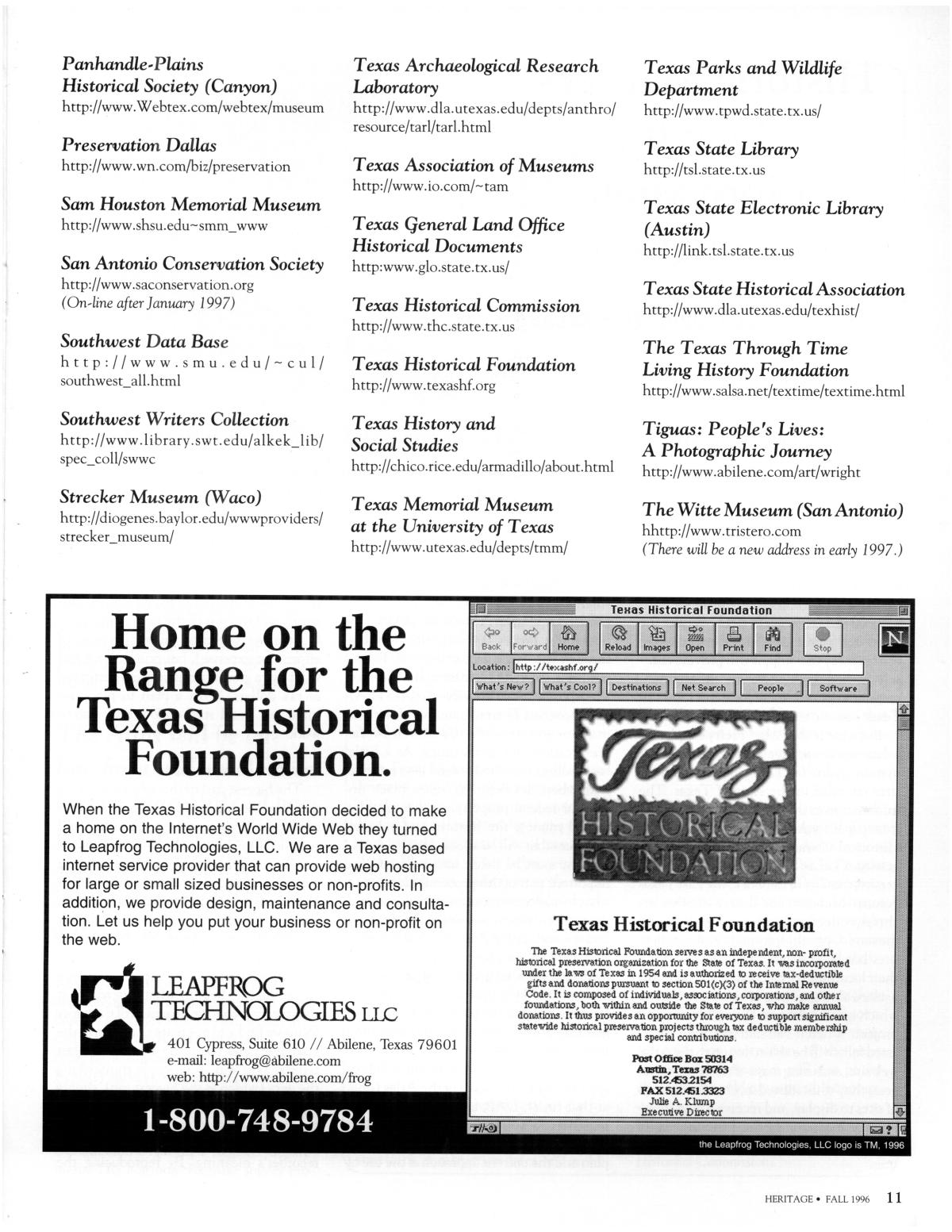 Heritage, Volume 14, Number 4, Fall 1996                                                                                                      11