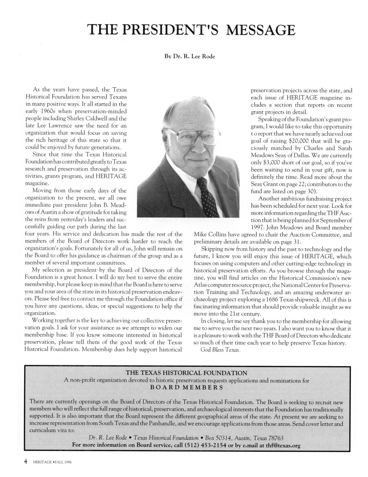 Heritage, Volume 14, Number 4, Fall 1996                                                                                                      4