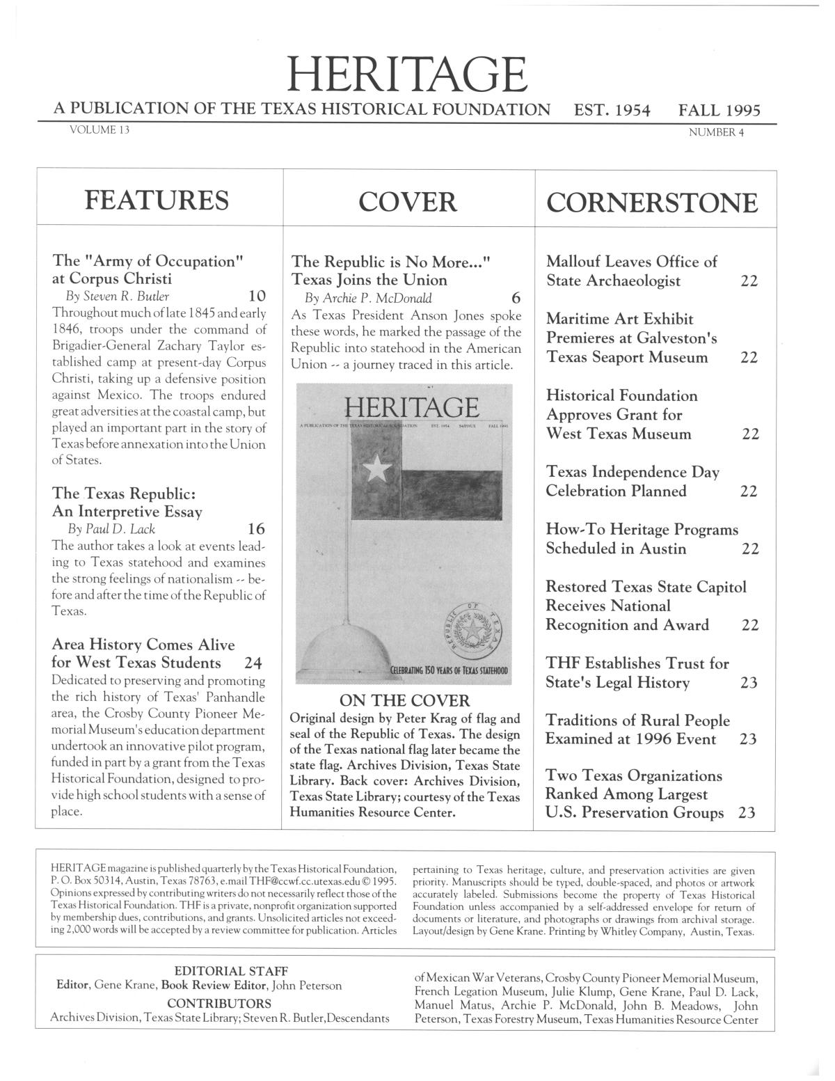 Heritage, Volume 13, Number 4, Fall 1995                                                                                                      3