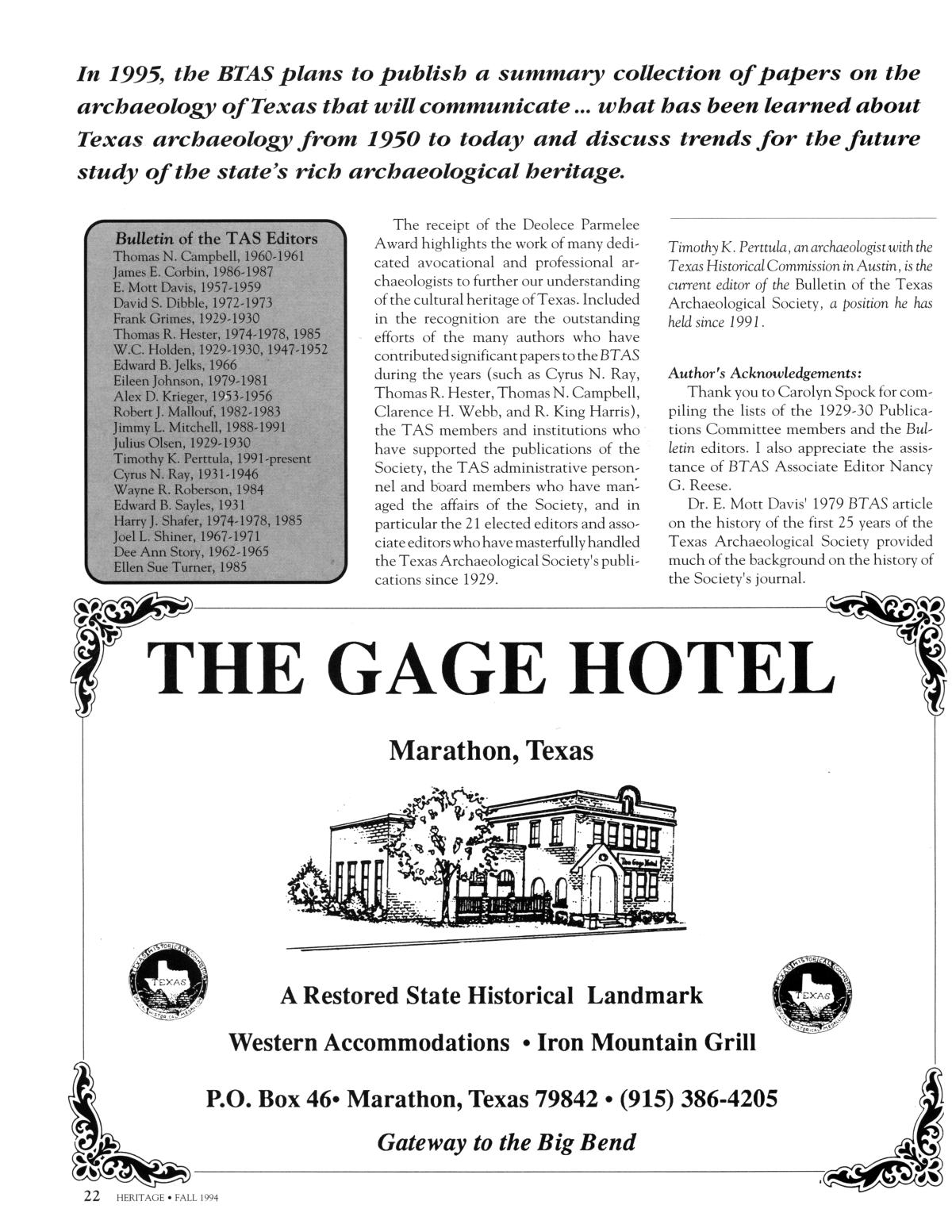 Heritage, Volume 12, Number 4, Fall 1994                                                                                                      22