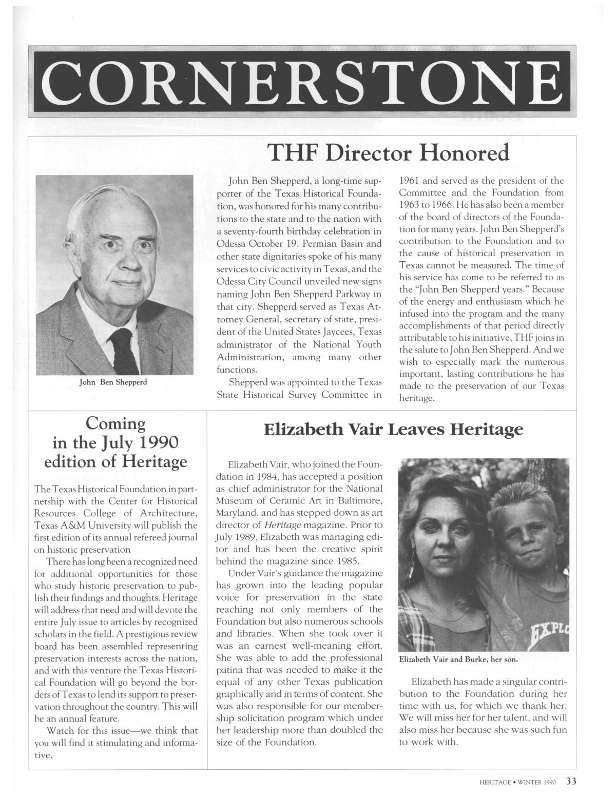 Heritage, Volume 8, Number 1, Winter 1990                                                                                                      33