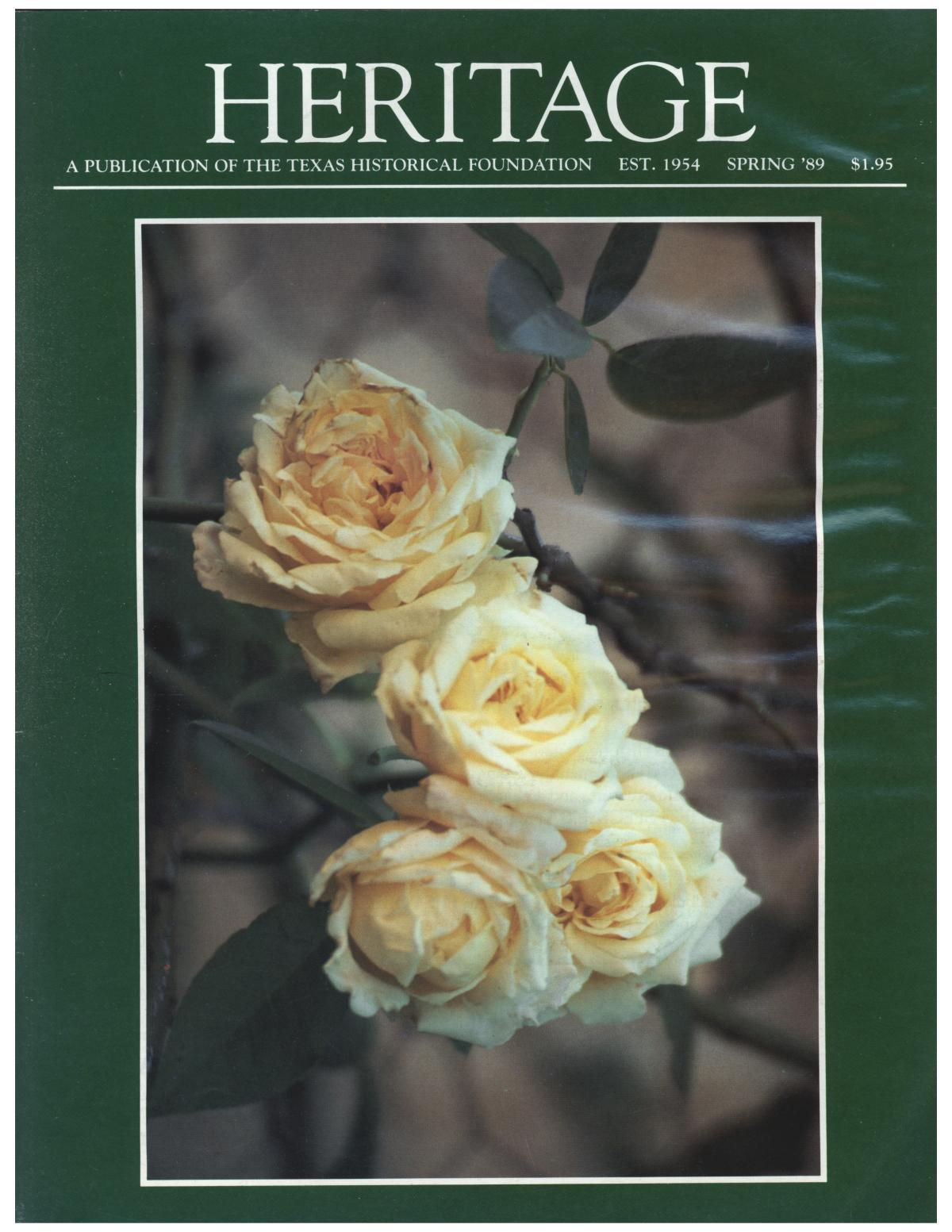 Heritage, Volume 7, Number 2, Spring 1989                                                                                                      Front Cover