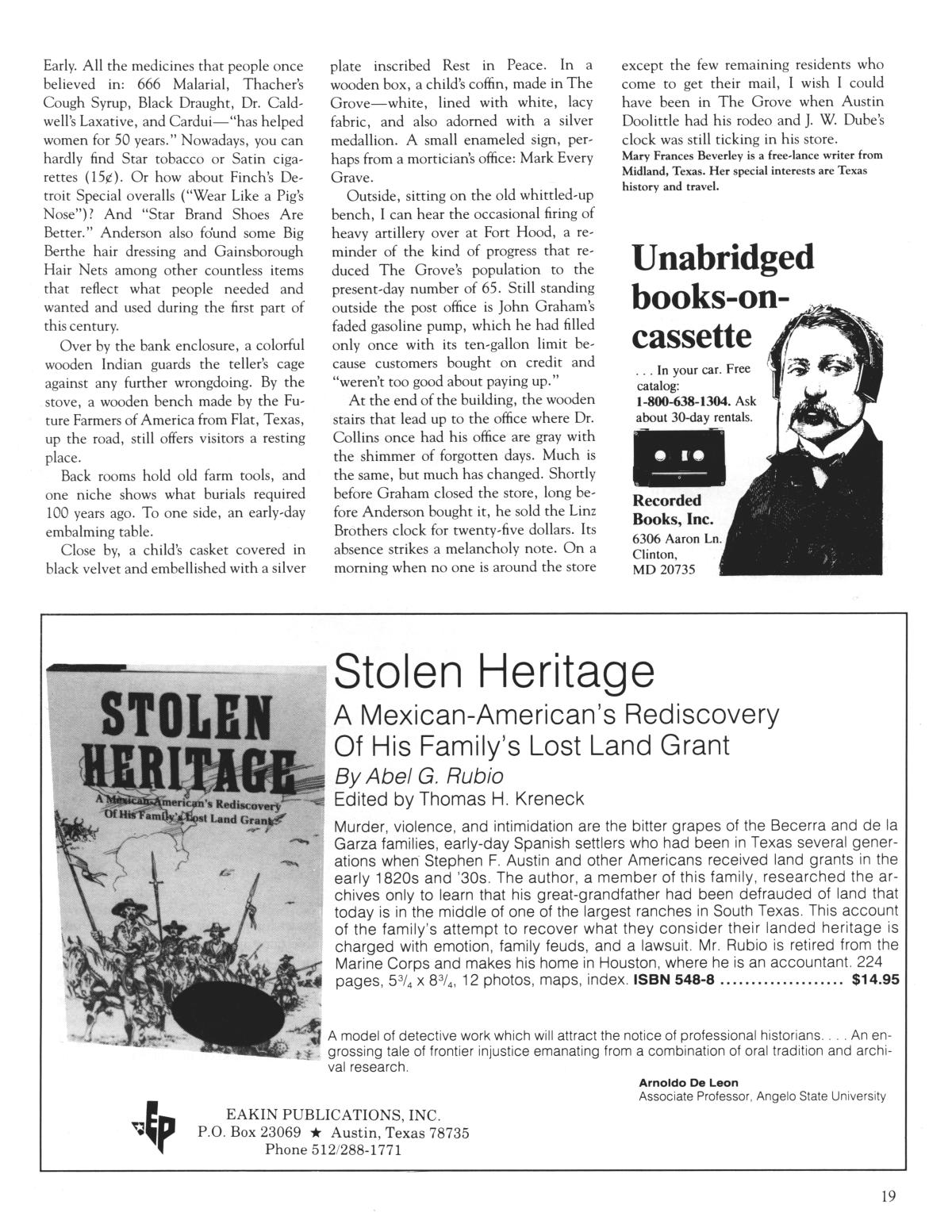 Heritage, Volume 5, Number 2, Summer 1987                                                                                                      19