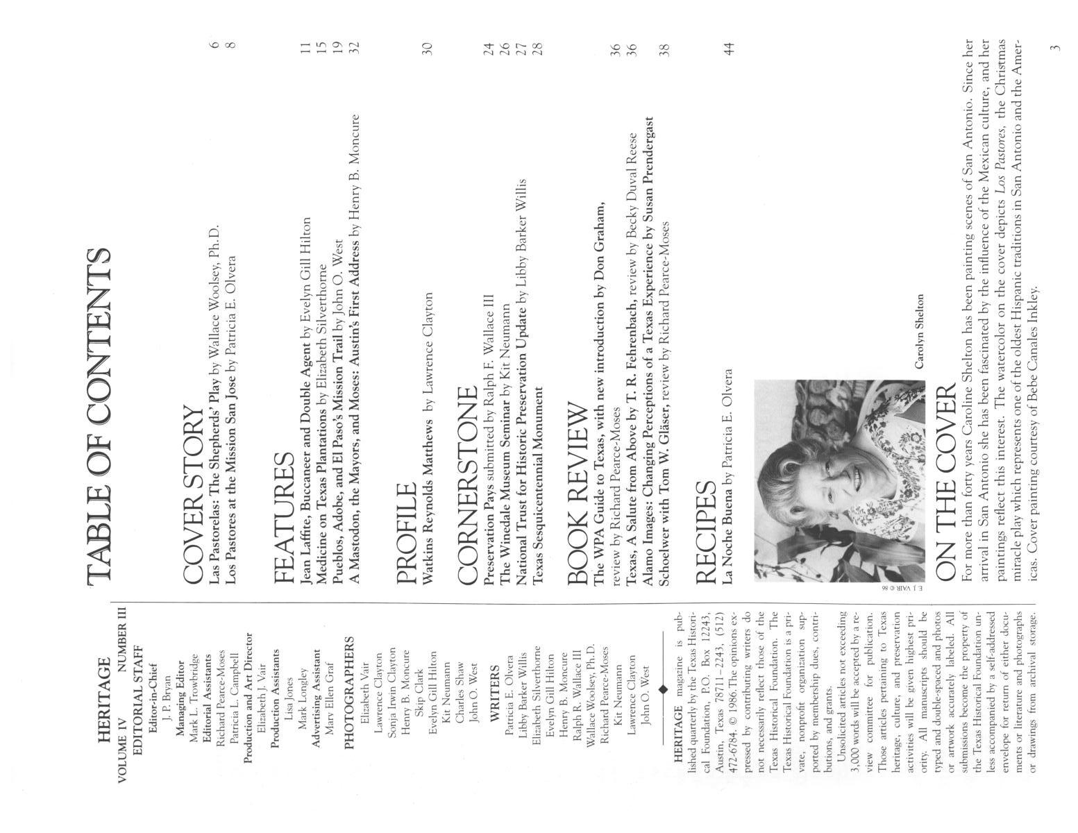 Heritage, Volume 4, Number 3, Winter 1986                                                                                                      3