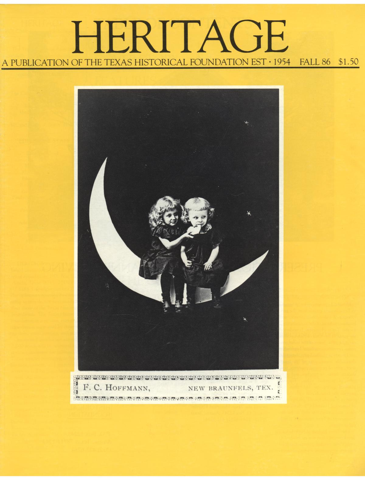 Heritage, Volume 4, Number 2, Fall 1986                                                                                                      Front Cover
