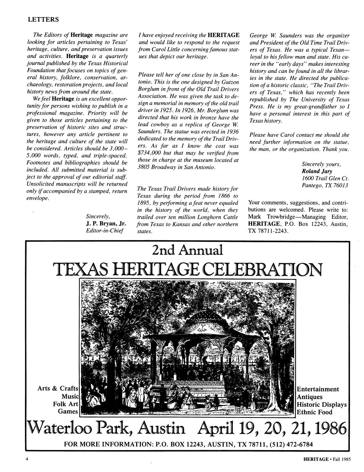 Heritage, Volume 2, Number 4, Fall 1985                                                                                                      4