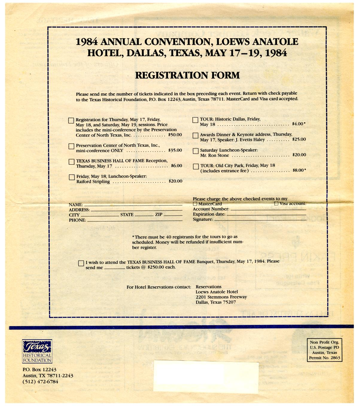 Texas Heritage, Special Issue: Annual Convention 1984                                                                                                      Back Cover
