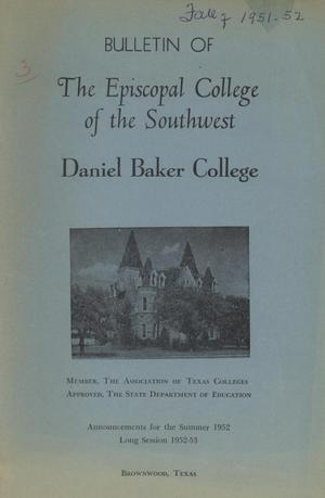Primary view of object titled 'Catalogue of Daniel Baker College, 1952-1953'.