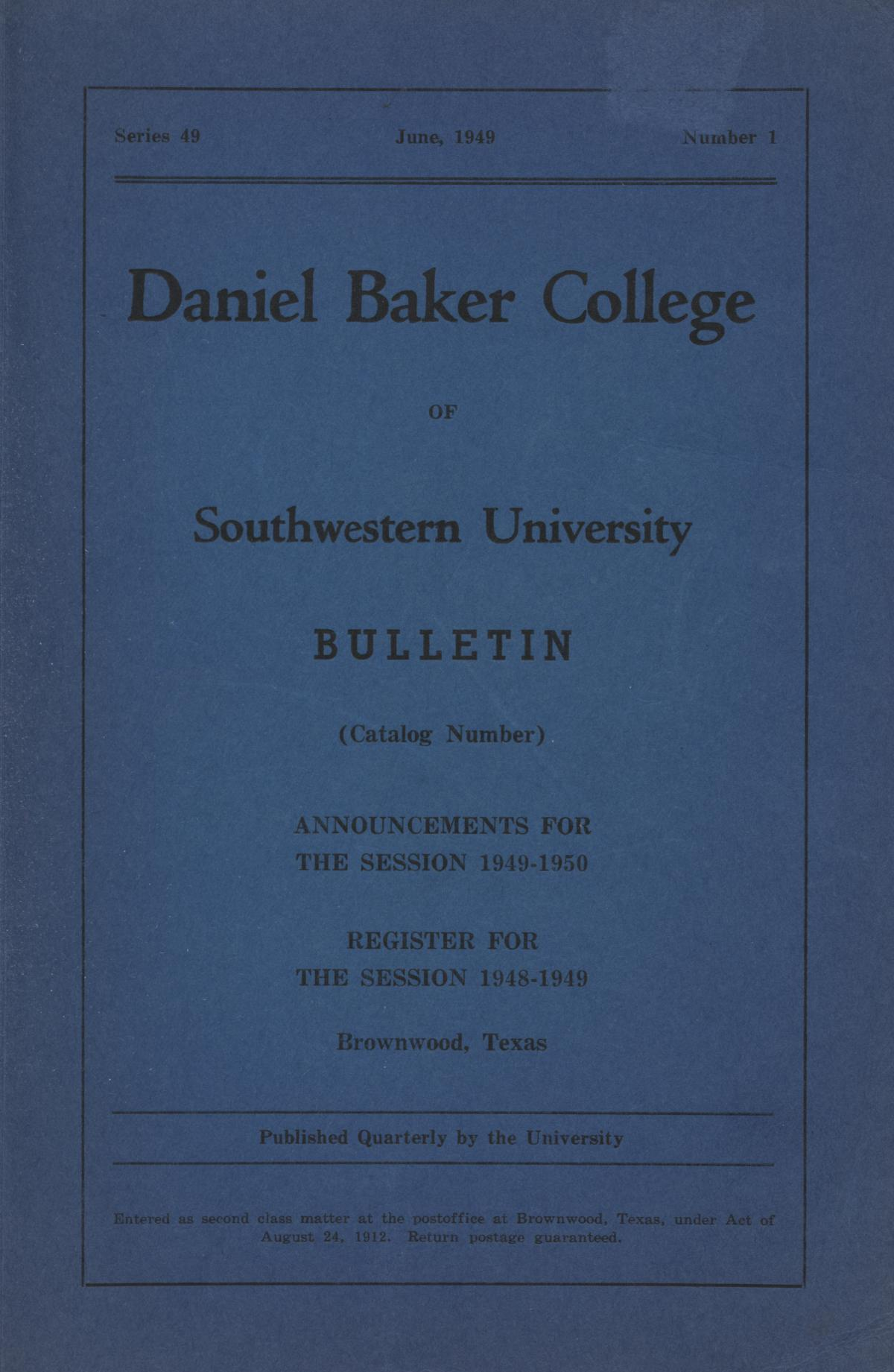 Catalogue of Daniel Baker College, 1948-1949                                                                                                      Front Cover