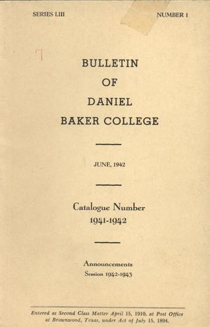 Primary view of object titled 'Catalogue of Daniel Baker College, 1941-1942'.