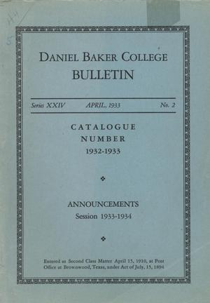Catalog of Daniel Baker College, 1932-1933